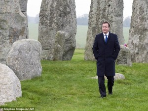 David Cameron visited Stonehenge to welcome the £15bn investment in Britains's roads.