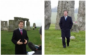 "Left: Deputy Prime Minister Nick Clegg announces that 'the money is no only there but we are going to legislate on it.""  Salisbury Journal  Right: Prime Minister David Cameron at Stonehenge to welcome the £15bn investment in Britain's roads. Daily Mail on 1 December 2014"