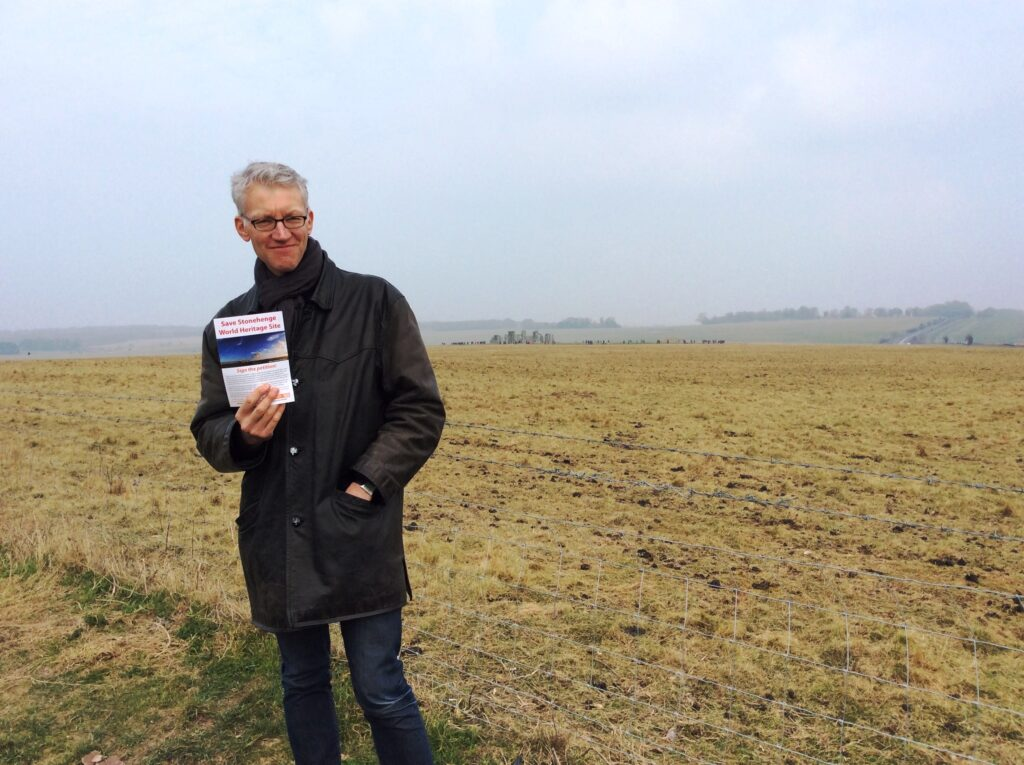 Stonehenge Alliance President, Tom Holland launches our website at Stonehenge, March 2015