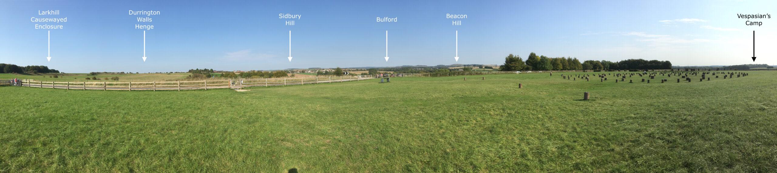 Woodhenge Eastern Horizon panorama. Stonehenge World Heritage Site